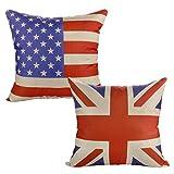 Luxbon 2er Set Flagge Vereinigte Staaten von Amerika Großbritannien Leinen Kissenbezug Wurfkissenbezug Pillowcase Cafe Haus Auto Deko 18 x 18 ''