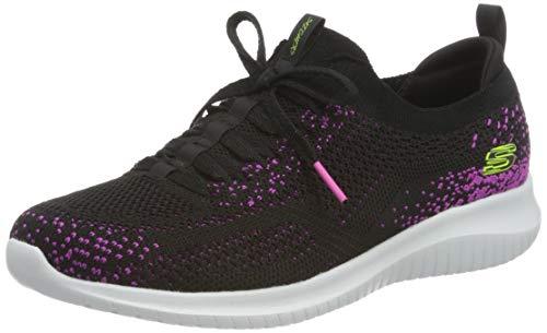 Skechers Damen Ultra Flex Sneaker, Schwarzer Strick mit rosafarbenem Rand, 40 EU