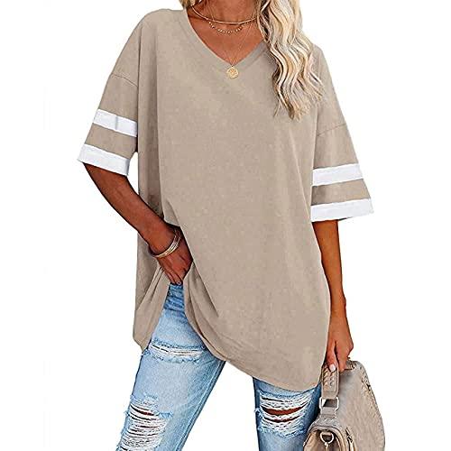 Camiseta casual de verano con cuello en V para mujer, de manga corta, informal, holgada, de béisbol, túnica, albaricoque, S