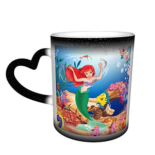 Taza de café con diseño de sirenita para té, de cerámica, cambia de color, para amantes de la familia, amigos, oficina, regalo de cumpleaños