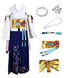 US Size Comic Game Final Fantasy X Cosplay Yuna Costume Halloween Full Suit (Small) Blue