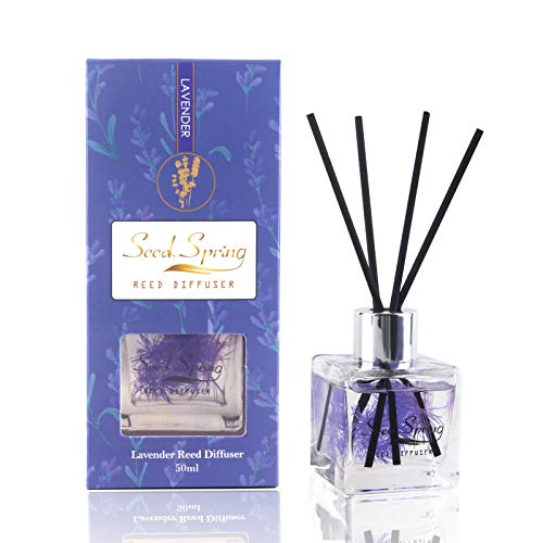 Seed Spring Reed Diffuser Set Lavender Aromatherapy Oil Effectively Improve Sleep Soothe Mood stabilize Nerves Home Decoration and Office Decoration Perfume and Gifts 1.7 oz(50 ml ) Upgraded Version