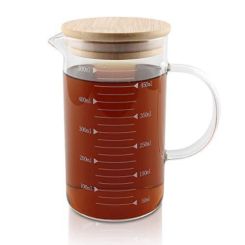 Messbecher, Temperaturbeständig Messkanne Mit Deckel,Transparent,Glas,für Mikrowelle mit Skala für Milch, Kaffee, heiße und kalte Wasserkrug - Ideal Als Küchenhelfer und Back Zubehör (500ml)