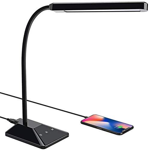 Lampe de Bureau 48 LED, TOPELEK Lampe de Table Tactile Pliable avec 5 Luminosités et 3 Modes de Couleur Réglable, Cou Flexible 360, Protection des Yeux Pour Travail, Lecture,Chambre, Chevet (Noir)