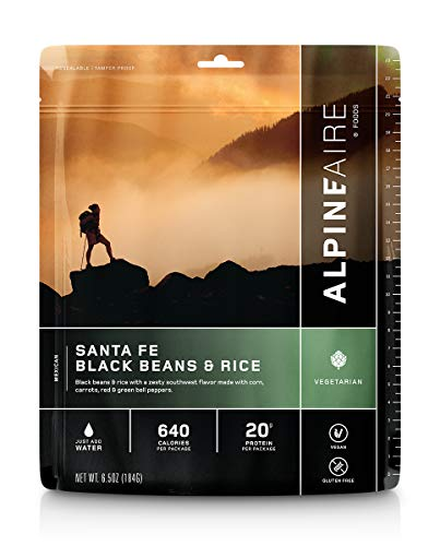 Alpine Santa Fe Black Beans & Rice Freeze-Dried/Dehydrated Entrée Meal Pouch, Just-add-Water, 2-Servings per Pouch, Gluten-Free, 10g of Protein per Serving