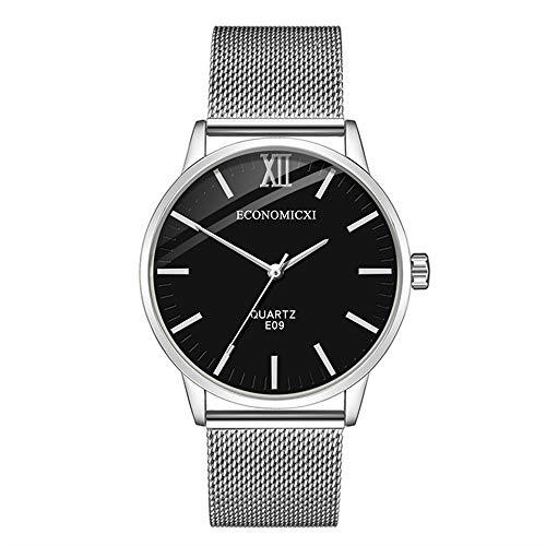 Economicxi Herren-Armbanduhr aus Edelstahlnetz, elegant, Sportuhr aus Edelstahl, analoge Quarzuhr, Netz-Armband Armband Einheitsgröße Schwarz