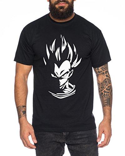 WhyKiki Super Vegeta Goku Herren T-Shirt Goku Dragon Master Son Ball Turtle Roshi Db, 4XL, Schwarz/Weiß