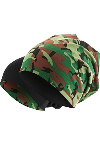 MasterDis Jersey Reversible Beanie 10 Colours Beany Hat Wool Wolle Wollmütze(Green Camo)