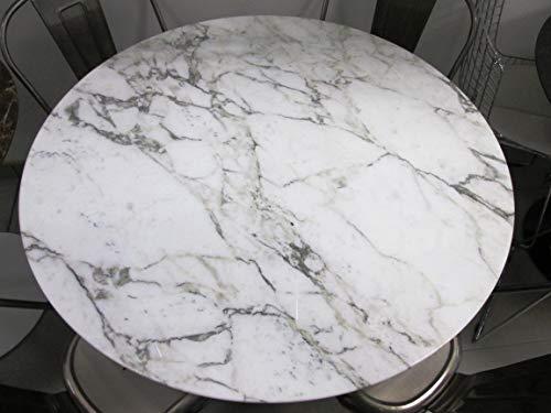 Table Tulip Ronde cm 120 marbre arabescato vagli Base Blanche