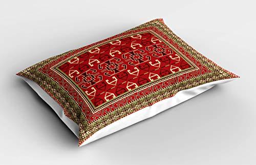 ABAKUHAUS patrón de Turquía Funda de Almohada, Extracto Marco, Decorativa de Suave Microfibra Estampada Lavable, 80 cm x 40 cm, Pistacho Verde Brown