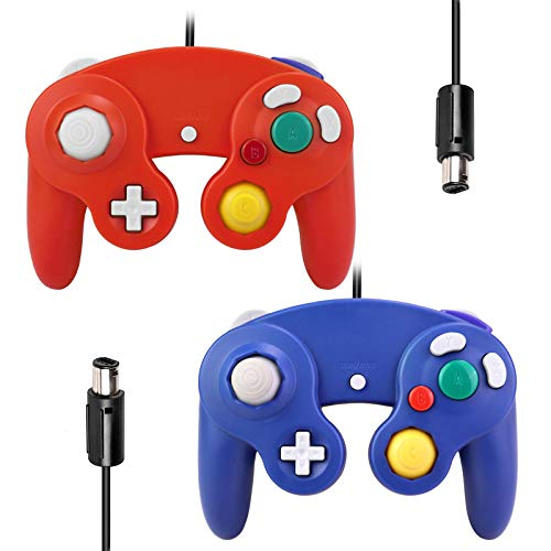 Gamecube Controllers,GALGO Classic Gamecube wii Controller for Nintendo Gamecube Console, Compatible with Wii(Red & Deep Blue)