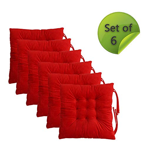 Comfy Soft Chair Pads Seat Cushions Cover with Ties for Dining Chairs, Office Chairs, Carpeted Floors, Hardwood Floors, 100% Polyester Cover Indoor Chair Cushions (6, Red)