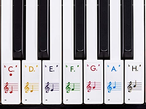 Premium Aufkleber für Klaviertasten | Klavier Aufkleber/Keyboard Aufkleber auf deutsch inkl. Anleitung + E-Book | für 49/61 / 76/88 Tasten | für weiße Tasten | Transparent [JL-T52]