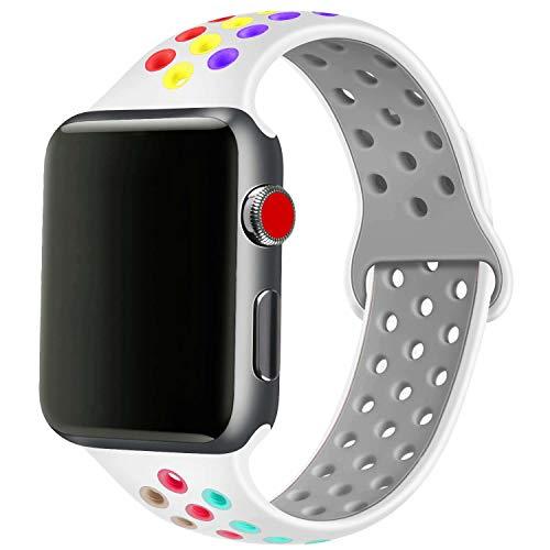 SSEIHI Compatibile con Cinturino Apple Watch 38mm 40mm,Cinturino di Ricambio Sportivo in Silicone Morbido per Cinturino per iWatch Serie 5/4/3/2/1,Sport,Traspirante, Impermeabile,S/M,White Color