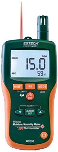 Extech MO290 Pinless Moisture Meter + IR Thermometer; Measure Humidity, Air Temperature (with built-in probe) Plus Non-contact InfraRed Temperature; Min/Max and Data Hold, Auto Power Off