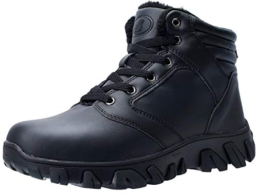 Barerun Winter Mens Snow Boots for Men Fur Lining Leather Rubber Sole Ankle Booties Black 13 M US Men