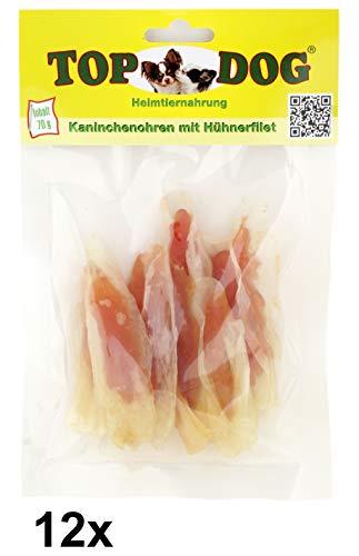 Top Dog Kaninchenohren mit Hühnchenfilet - Filet in Streifen - zuckerfrei - 70g (12x 70g)