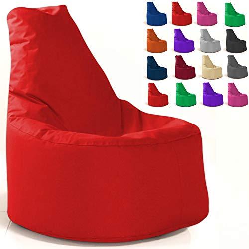 Sitzsack Gamer Sessel mit Füllung XL - XXL In & Outdoor Gaming Kissen Sofa Sitzkissen Bodenkissen (XL - 68cm Durchmesser, Rot)