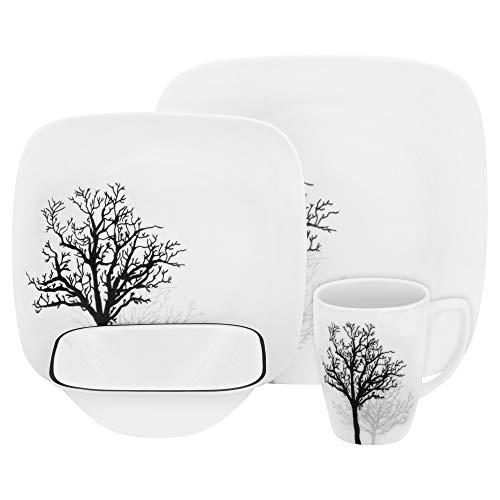 CORELLE Square Timber Shadows 16-pc Dinnerware Set, 1, white