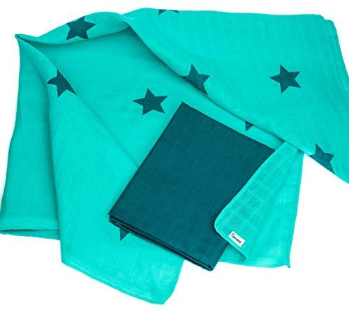 divata bunte Mullwindeln 2er Set - (Sterne, Petrol) - farbige Mulltücher, Baby Spucktücher aus 100% Baumwolle, Oeko-Tex-Zertifiziert, 80x80 cm