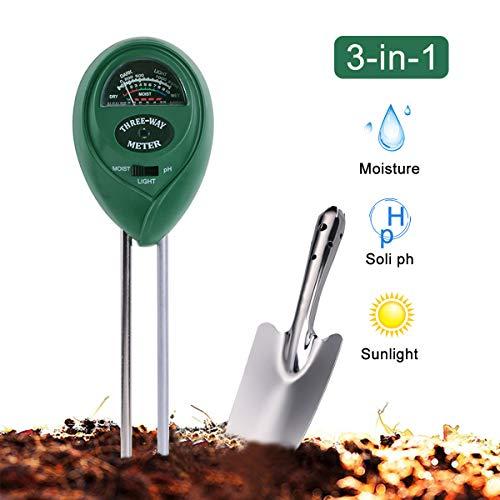 PECHTY Bodentester, Boden Feuchtigkeit Meter, 3 in 1 Bodentester Bodenmessgerät Feuchtigkeitsmesser und Boden pH Tester für Pflanzenerde, Garten, Rasen, Bauernhof, Kein Batterien erforderlich