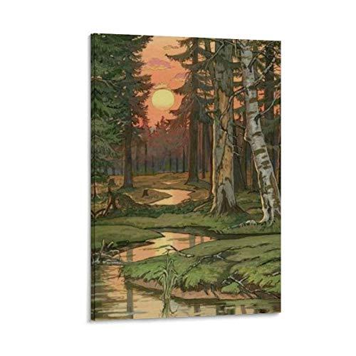 DMXM Cartel decorativo del bosque de cuento de hadas ruso pintura lienzo arte de la pared carteles sala dormitorio pintura 50 x 75 cm