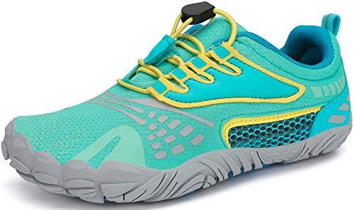 SAGUARO Barefoot Zapatillas de Trail Running Niños Niñas Minimalistas Zapatos de Deporte Antideslizantes Calzado Descalzos para Fitness Caminar Correr Asfalto Montaña Senderismo, Menta Verde, 25 EU