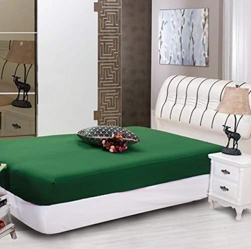 XLMHZP 100% algodón Sábana Ajustable para Hotel Sábana de Cama sólida Color All-Around Banda de Goma elástica Funda de colchón Queen King Sheets-150x190+ 30cm(1PCS) Green