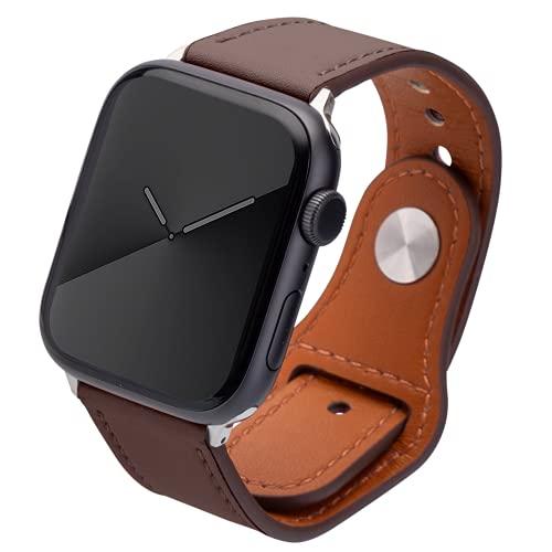 Kluck Correa de piel para Apple Watch Series 6 5 4 3 2 1 SE 44 mm 42 mm 38 mm 40 mm iWatch, correa de cuero para hombre y mujer (42 mm/44 mm, marrón oscuro)