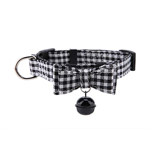 ffu Collar De Perro De Mascotas Collar De Mascotas En Forma De Campana, Lattice Blanco Y Negro L