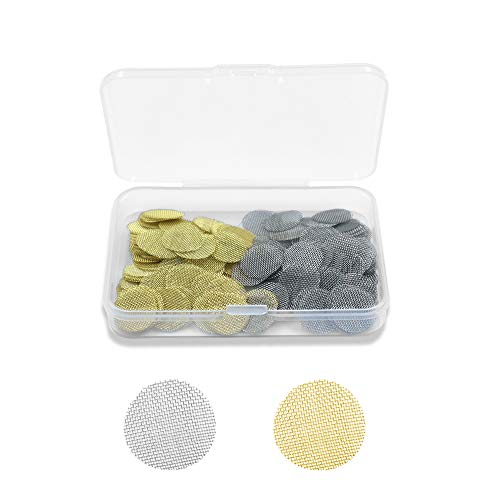 2 Materials Pipe Screen Filters 1/2in with Compact Box, 100 Pieces Quality Stainless Steel Pipe Screens and 100 Pieces Premium Brass Smoking Pipe Filters (200PCS, 0.5in)