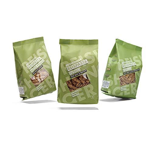 Reishunger Reispasta - Reis und Hülsenfrüchte, Mezze Penne, Fusilli (3x240g) - Glutenfreie Vollkorn Nudeln aus Reis und Linsen, Erbsen und Kichererbsen.