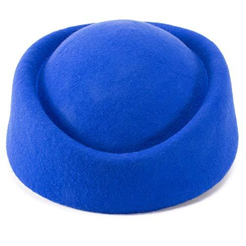 Lawliet Lawliet, Fascinator aus Wollfilz, Hochzeitshut, Pillenbox-Hut für Damen, schöner Hostessen-Hut Gr. Einheitsgröße, blau