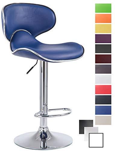 CLP Sgabello Design Cucina Las Vegas V2 In Similpelle Con Schienale I Sedia Alta Imbottita Girevole Regolabile 62-82 CM, Colore:blu, Colore della cornice:cromo