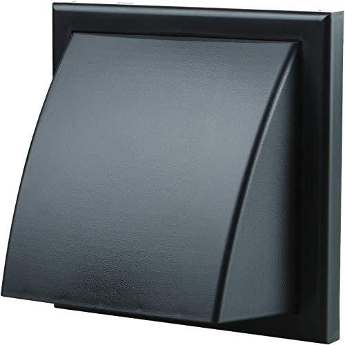 Blauberg - Rejilla de ventilación de aire, de pared con capucha, de plástico, con espita redonda, obturador, contrafuerte de para viento, 155 x 155/100Hk, color blanco, 150mm, Negro, 1