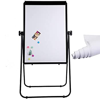 DexBoard U-Stand Whiteboard Easel- 40x28 inches Double Sided Magnetic Dry Erase Board Easel Flipchart Holder Height Adjustable & 360 Degree Rotating Board w/ 1 Eraser 6 Magnets and Paper Pads