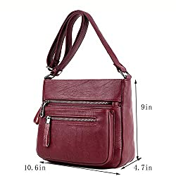 SYYHOME Crossbody Purses for Women PU Leather Hobo Shoulder Bags Travel Purses and Handbags Medium Pocketbooks (Wine Red)