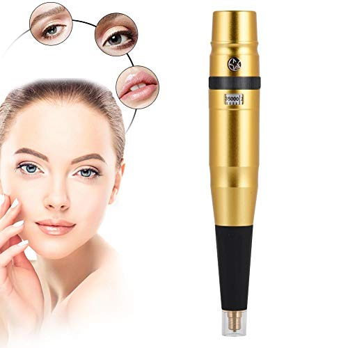 Semi-Permanent Tattoo Maschine, Super Low Noise Tattoo Pen für Augenbrauen Eyeline Lip Makeup Machine 100-240V(Gold)