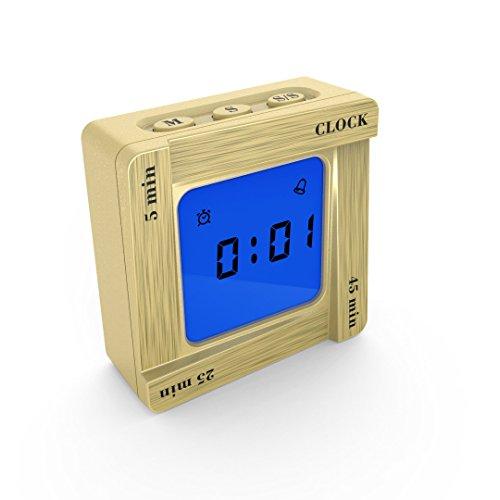 Fghyh Funk-Wecker, mit autom. Hintergrundbeleuchtung, Datum, Temperaturanzeige und zwei Weckzeiten2 Lautstärke, 12/24 Stunden Einstellung für Schlafzimmer, Büro (E)