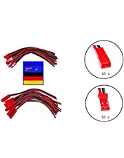 Eibl - Juego de 10 pares de cables adaptadores de 120 mm JST BEC con cable macho y hembra, cable de silicona para batería RC JST BEC Lipo de batería Eibl ®
