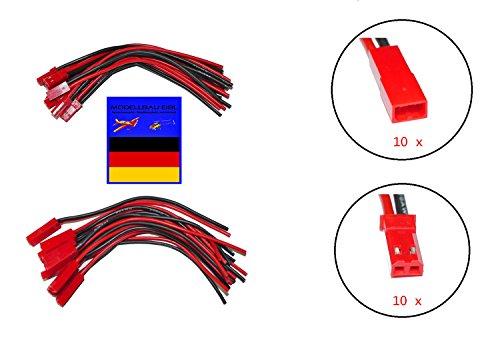 10 Paar Premium 120mm JST BEC Adapterkabel Stecker Buchse mit Kabel Draht männlich und weiblich Silikonkabel für RC JST BEC Lipo Akku von Modellbau Eibl ®
