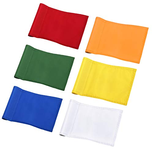 KINGTOP Solid Golf Flag with Plastic Insert, Putting Green Flags for Yard, Indoor/Outdoor, Garden Pin Flags, 420D Premium Nylon Flag, 8 L x 6 H, 6-Pack