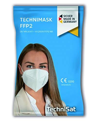 TechniSat TECHNIMASK FFP2 Maske - (Mund- und Nasen-Bedeckung, dermatologisch getestet, 5-lagige Einweg-Maske aus hochwertigem Vlies - Gesichtsmasken Made in Germany), 5 Stück