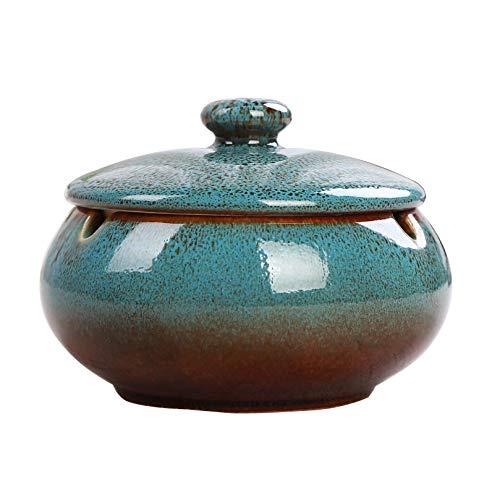 WSJF Cenicero for Cigarrillo Cenicero Papelera de Cerámica de Interior o al Aire Libre OutdoorGarden con Tapa Interior, Altura 8 cm Diámetro: 11 cm, Negro (Color : Azul)