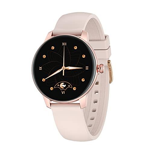 QNMM Reloj Inteligente KW30 para Mujer, Reloj Inteligente Redondo de 1.09 Pulgadas con Monitor de Frecuencia Cardíaca Y Presión Arterial Reloj Deportivo, IP68 a Prueba de Agua, para Android E iOS