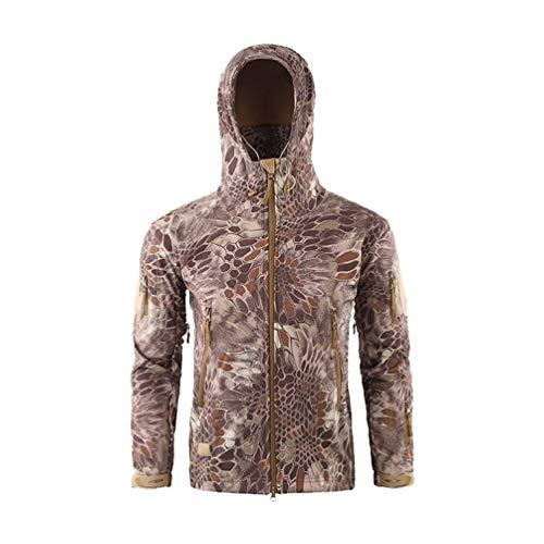 Herren Softshell Fleecejacke Camouflage Outdoor Wesentlich Hoodie Wandern Camping Warm Innenfutter Winddicht Wasserdicht Mantel Jacken Skijacke ( Color : Sandig Pythonmuster , Einheitsgröße : XXL )