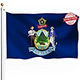 DFLIVE Double Sided Maine State Flag 3x5ft Heavy Duty Polyester 3 Ply ME Flags Indoor and Outdoor Use