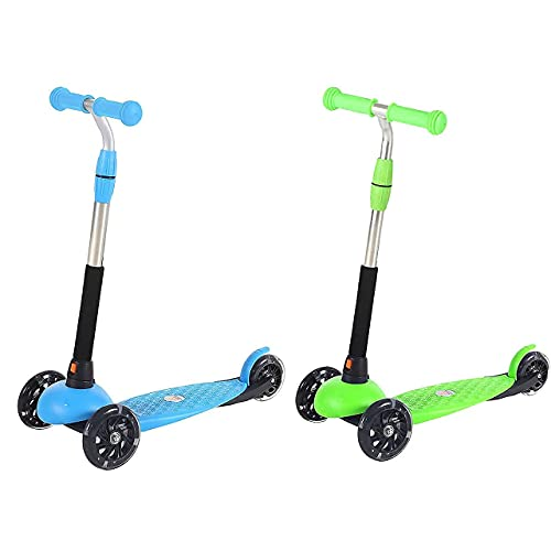 2 wheels scooters Two Scooters, Baby Games for 2 to 4 Year Olds, Tri Scooter for 5 Year Old, Light Up Wheels, Green and Blue - Birthday Gifts for Granddaughter and Grandson