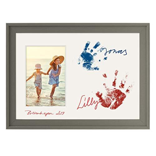 PHOTOLINI Collage-Bilderrahmen 21x30 cm/DIN A4 Anthrazit mit Passepartout für 1 Bild 10x15 cm inkl. Fläche zum Selbst-Gestalten | Collagerahmen Grau mit Glasscheibe
