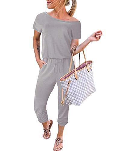ANRABESS Women's Summer Off Shoulder Long Pants Jumpsuit Outfit with Belt